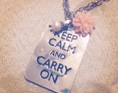 Keep Calm, Typography Necklace