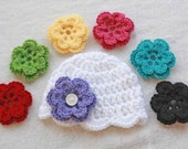 Baby Shell Beanie with 7 INTERCHANGABLE FLOWERS - Great Photo Prop