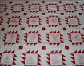 Embroidered Quilt Top Handmade REDWORK STATES and FLOWERS  Bedding Red and White