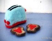Needle Felted Retro Toaster and Toast With Heart Shaped Jam.  Made to Order.
