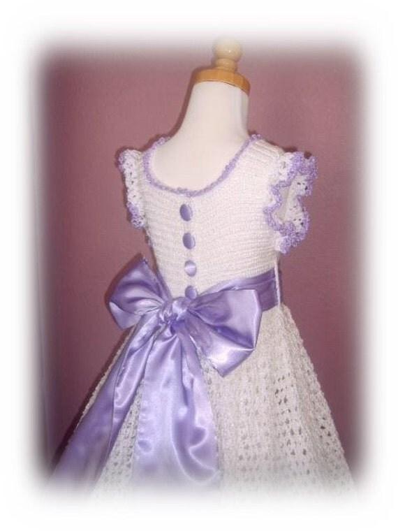 Spring - Olivia's Shimmering Lace crochet dress PDF e Pattern (girl size 1, 2, 4, 6)