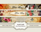 ETSY SHOP BANNERS, Set No5 - Multipurpose digital images/ Printable Download/ Digital Collage Sheets/ Bookmarks/ Paper Goods