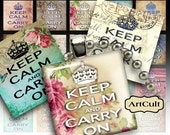 Printable downloads KEEP CALM And CARRY On Digital Collage Sheet 1x1 inch and 7/8x7/8 inch size for pendants magnets print-it-yourself paper