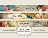 ETSY SHOP BANNERS Set No6 - Multipurpose digital images/ Printable Download/ Digital Collage Sheets/ Bookmarks/ Paper Goods