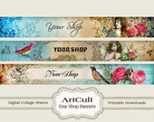 ETSY SHOP BANNERS Set No8 - Multipurpose digital images/ Printable Download/ Digital Collage Sheets/ Bookmarks/ Paper Goods