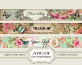 ETSY SHOP BANNERS Set No12, Multipurpose Printable images Digital Download Sheets, Bookmarks, Scrapbooking Clip Art Paper, Store Graphics