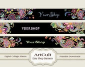 ETSY SHOP BANNERS Set No13 - Multipurpose digital images/ Printable Download/ Digital Collage Sheets/ Bookmarks/ Paper Goods