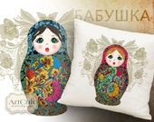 MATRYOSHKA - 2 Digital Sheets Printable Images to print on fabric / paper, Iron On Transfer for tote bags t-shirts pillows