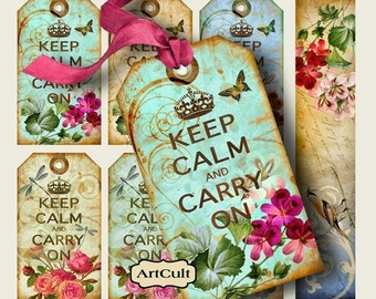 Printable Download KEEP CALM Shabby TAGS Digital Collage Sheet Gift tags Vintage print-it-yourself scrapbooking Paper decoupage Craft