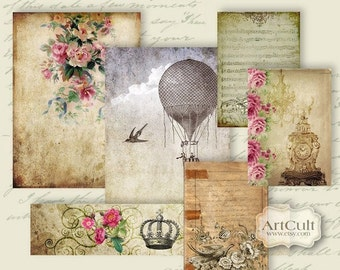 Printable Download SCRAPSET No2 - Digital Collage Sheet for Scrapbooking and Journaling Vintage Craft Paper DIY gift tags, by ArtCult