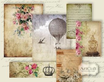 SCRAPSET No2 - Digital Collage Sheet Printable Download for Scrapbooking Vintage Paper Craft