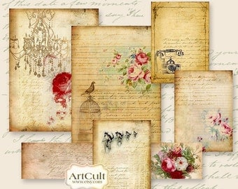 Printable Download SCRAPSET No1 - Digital Collage Sheet for Scrapbooking and Journaling Vintage Craft Paper DIY gift tags, by ArtCult