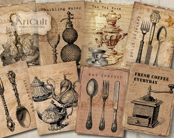 Printable Gift Tags BON APPETIT Digital Collage Sheet Vintage Ephemera antique Paper Craft scrapbooking decoupage kitchen decoration