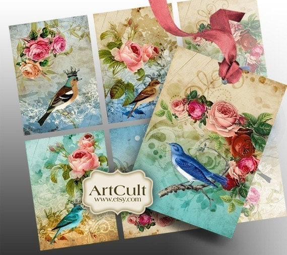 Gift Tags and Bookmarks BIRDS and ROSES  Digital Collage Sheet Printable Download Jewelry Holders Vintage ephemera images ArtCult Design