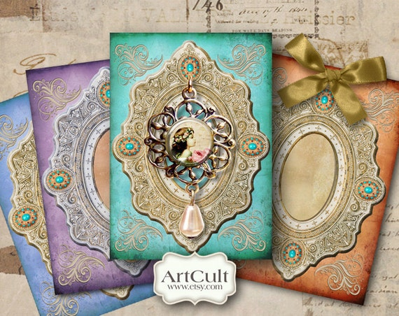JEWELRY HOLDERS No9 - Digital Collage Sheet Printable Download Tags Scrapbooking Backgrounds Vintage Paper Labels