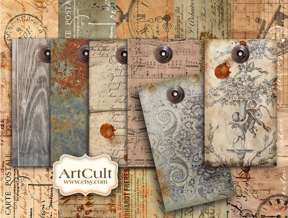 Printable Paper Goods TAGS AND STRIPS Set No2 Backgrounds for Scrapbooking Journaling Decoupage Digital Collage Sheet vintage ephemera paper