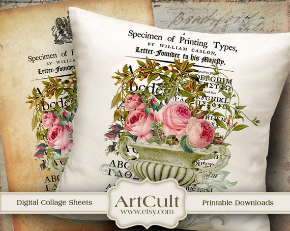 Two Printable Images SHABBY ELEGANCE No4  Digital Sheets to print on fabric / paper, Iron On Transfer for tote bags t-shirts pillows