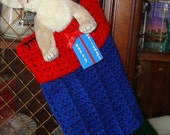 Crocheted Ribbed Christmas Stocking/Christmas Decoration/Christmas Ornament/Deck the Halls/ Blue, Green, Red/Jingle Bells/Great for presents