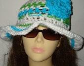 Hand Crochet White Cloche with Floppy Brim Sun Hats Style II/Summer Hat/Women's Accessories/Summer Fashion/Spring Accessories/Cloche Hat