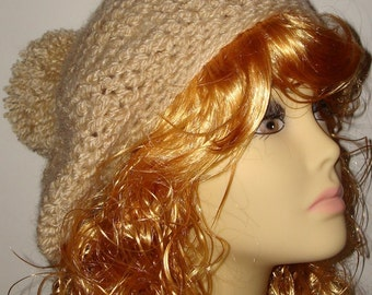 Hand Crochet Super Soft &  Warm Camel Scottish Style Tam Beret with Pom Pom/Winter Beret/Winter Tam/Women's Accessories/Fashion/Teen Hat
