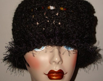 Hand Crochet 1920's Style Cloche Flapper Hats/Novelty Fur Trim/Style I /Cloche Hat/Fashion/Women's Accessories/Winter and Fall Accessories
