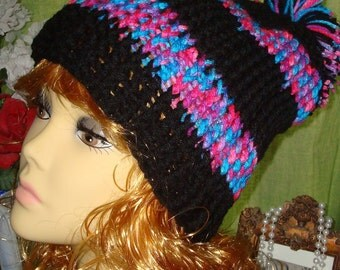 Hand Crochet Ribbed Slouchy Beanie Hat/Black with Variegated Print/Pom Pom/Unisex accessories/Women's accessories/Teen's/Winter/Fall Hat