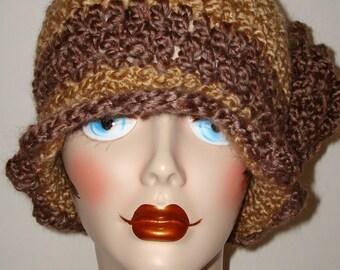 Hand Crochet Edwardian Cloche Flapper Hat/Fawn & Earth Brown/Free US shipping/Women's Cloche/Women's Accessories/Winter Fashion/Fall Hat