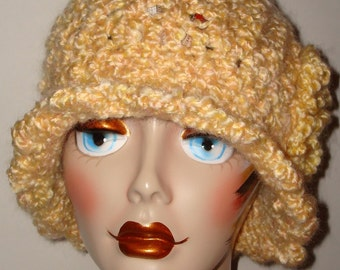 Vintage Style Hand Crochet Ruffle Trimmed Cloche Flapper Hat/Yellow/Clearance/Free US shipping/Cloche Hat/Women's Accessories/Winter Fashion