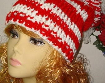 Hand Crochet Ribbed Slouchy Beanie Hat Christmas Beanie/Red & White/Slouch Beanie/Pom Pom Beanie/Women's Accessories/Teen's Hat/Winter/Fall