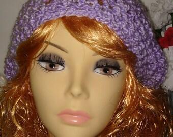 Hand Crochet Super Soft & Warm Lavender Homespun Slouchy Tam Beret/Clearance/Free US shipping/Winter Beret/Women's Accessories/Fall Fashion