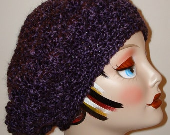 Hand Crochet Soft & Warm Homespun Bobble Slouchy Beret Tams/Winter Fashion Berets/Women's Accessories/Fall Accessories/Slouch Beret/Women's