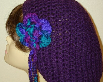Crochet Slouchy Rasta Tam with Flower/Slouchy Beret/Women's Accessories/Unisex Accessories/Fashion Accessories/Fall Accessories/Beret/Tam