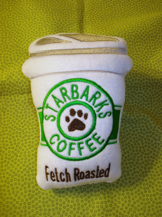 DOG SqueakerToy Starbarks Coffee Fetch Roasted Toy Caffiene to get your Dog going Dont Forget your Forever Friend this Holiday Ready to Ship