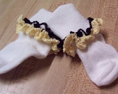 Toddler Socks, Crochet Lace  Yellow and Black Trimmed Socks