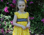 """Girl""""s Dress in Bright Yellow with Bees and Black Checks"""