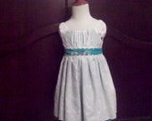 White Eyelet Dress, Party Dress, Flower Girl Dress over Turquoise with Embroidery Flowers and Pleated Ruffles