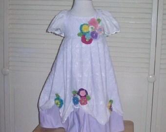 Girls White Eyelet Dress, Spring Dress, Flower Girl Dress, Party Dress w/YoYo & Rick Rack Flowers