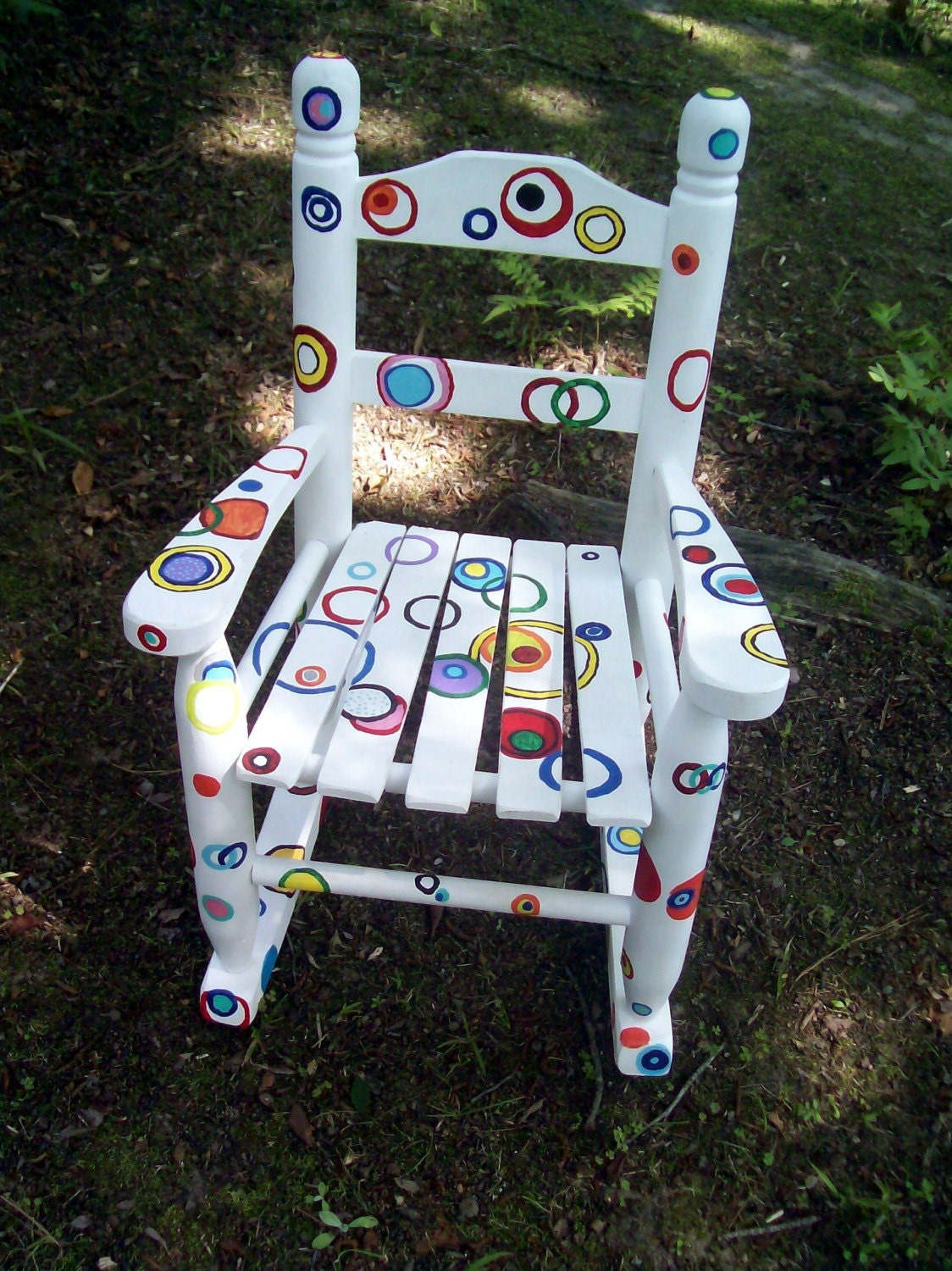 Rocking Chair Hand Painted Rainbow Bubble Rocking Chair