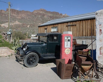 Old car in Oatman. Matted fine art photograph