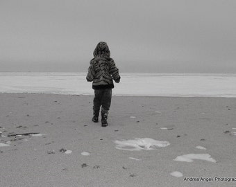 Snow on the Sand. Matted fine art photograph.