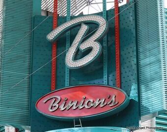 Binion's sign. Matted Fine art photograph