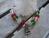 Stretch Czech Glass Christmas Charm Bracelet