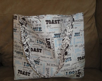 Great Brides Gift - Reversible Tote Bag - UNIQUE and practical - Honeymoon Tote (brown)