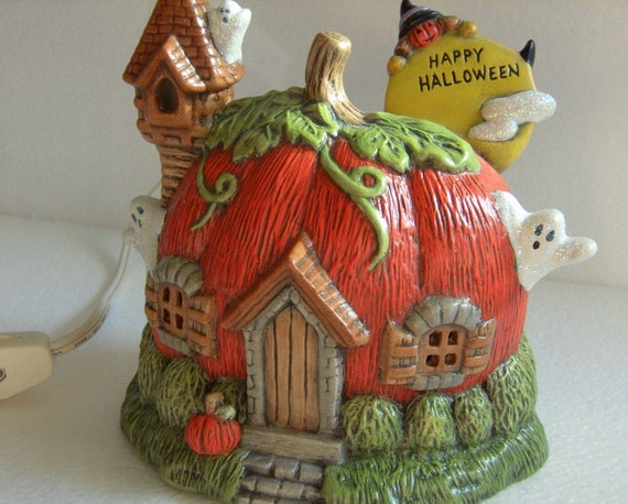 Halloween Ceramic Pumpkin and Ghost House Lighted