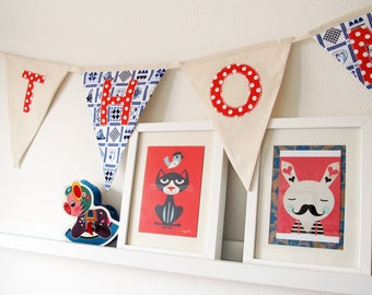 Bunting flags personalised with a name