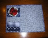 Contemporary Country Placemats with Embroidered Detail Blue and White