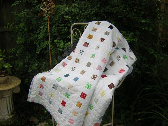 Free Ship USA Shabby Chic Quilt - Vintage Squares - Embroidered Details