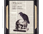 """NEVERMORE RAVEN on Skull art print with Edgar Allan Poe Quote """"All that we see is a dream"""" horror literature dictionary book page 8x10, 5x7"""