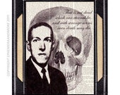 H P LOVECRAFT art print Portrait and Quote Typography Human Skull master of horror massacre literature literary book writer black white 8x10