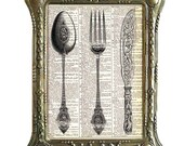 FORK Spoon KNIFE Victorian kitchen dining book page art print on dictionary print dictionary art print, wall decor, FREE Shipping usa canada